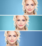 Gorgeous, young blond wearing sapphire crown and earrings over g Stock Photo