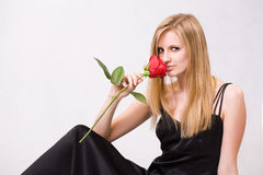 Gorgeous young blond woman holding rose. Stock Image