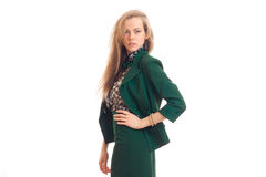 Gorgeous young blonde business woman in green unifrom Stock Photos