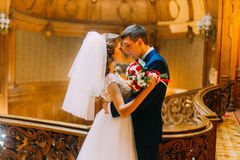 Gorgeous young bride and handsome elegant groom near old wooden baluster with the background of luxury interior. Gorgeous young bride and handsome elegant groom royalty free stock image