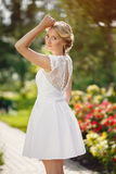 Gorgeous young bride in the Park of colors Royalty Free Stock Photo