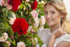 Gorgeous young bride in the Park of colors Royalty Free Stock Images