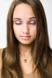 Gorgeous young brunette in makeup. Stock Photography