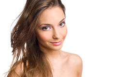Gorgeous young brunette in makeup. Stock Photo
