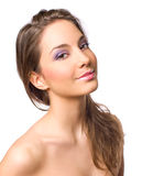 Gorgeous young brunette in makeup. Royalty Free Stock Photography