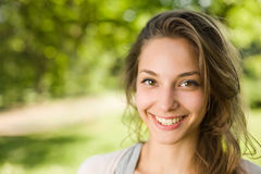 Gorgeous young brunette in the park. Stock Images