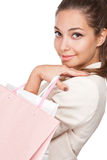 Gorgeous young brunette shopper. Royalty Free Stock Photography
