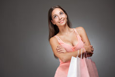 Gorgeous young brunette shopper. Stock Photo