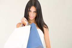 Gorgeous young brunette shopper. Stock Photography