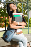 Gorgeous young brunette student. Royalty Free Stock Photo