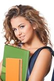 Gorgeous young brunette student girl. Royalty Free Stock Photo