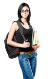 Gorgeous young brunette student woman. Stock Images