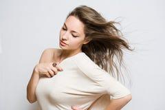 Gorgeous young brunette woman. Portrait of a gorgeous realxed young brunette woman Royalty Free Stock Image