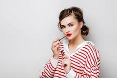 Gorgeous Young Brunette Woman face portrait. royalty free stock photos