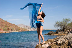 Gorgeous young female by the beach Royalty Free Stock Images