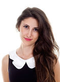 Gorgeous young female charmingly smiling. Closeup portrait of young female delightfully smiling Royalty Free Stock Photo