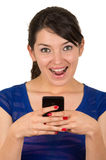 Gorgeous young girl texting with cell phone Stock Photo