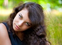 Gorgeous young lady outdoor royalty free stock photography
