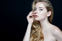Gorgeous young model, youth and skin care concept. Royalty Free Stock Photos