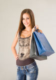 Gorgeous young shopper. Royalty Free Stock Photography
