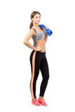 Gorgeous young sporty woman posing while holding towel Royalty Free Stock Images