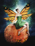 Gorgeous young woman as halloween pumpkin fairy. Witch orange wings on dark background royalty free illustration