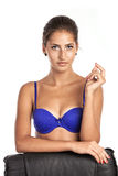 Gorgeous young woman in blue bra Stock Images