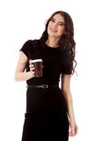 Gorgeous young woman enjoying some coffee. Gorgeous young woman enjoying some coffee, isolated on white Royalty Free Stock Photography