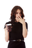 Gorgeous young woman enjoying some coffee. Gorgeous young woman enjoying some coffee,  on white Royalty Free Stock Photography