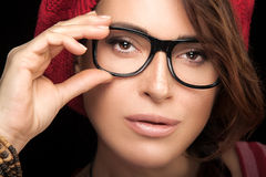 Gorgeous Young Woman Face with Eyeglasses Royalty Free Stock Image