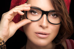 Gorgeous Young Woman Face with Eyeglasses. Cool Trendy Eyewear P Stock Photos