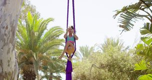 Gorgeous young woman gymnast working out on silks stock video footage