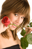 Gorgeous young woman with a rose Stock Photo