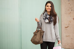 Gorgeous young woman at a shopping center Stock Photography