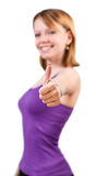Gorgeous young woman showing big thumbs up Royalty Free Stock Photo