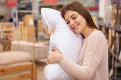Beautiful young women shopping in home furnishings store royalty free stock image