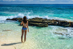 Gorgeous young woman in a swimsuit on the sea. Attractive girl w. Ith a beautiful figure in swimsuit on the tropical beach Stock Image