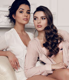 Gorgeous young women with dark hair in elegant home clothes Stock Image