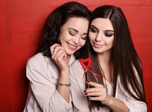 Gorgeous young women with dark hair and evening makeup Stock Photo