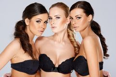 Gorgeous Young Women in Sexy Black Strapless Bras Royalty Free Stock Images