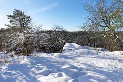 Gorges de Franchard unter Schnee in Fontainebleau-Wald stockfotos