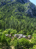 Gorges du Tarn. (Lozere, Linguedoc-Roussillon, France), famous canyon at summer, road and historic village Stock Photos