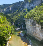 Gorges du Tarn, village. Gorges du Tarn (Lozere, Linguedoc-Roussillon, France), famous canyon at summer Royalty Free Stock Photo