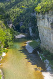 Gorges du Tarn, village. Gorges du Tarn (Lozere, Linguedoc-Roussillon, France), famous canyon at summer Royalty Free Stock Photos