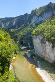 Gorges du Tarn, village. Gorges du Tarn (Lozere, Linguedoc-Roussillon, France), famous canyon at summer Royalty Free Stock Photography