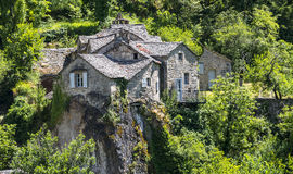 Gorges du Tarn, village. Gorges du Tarn (Lozere, Linguedoc-Roussillon, France), famous canyon at summer: historic village Royalty Free Stock Image