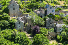 Gorges du Tarn, village. Gorges du Tarn (Lozere, Linguedoc-Roussillon, France), famous canyon at summer: historic village Royalty Free Stock Images