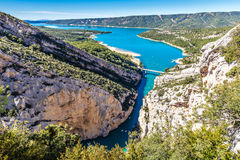 Gorges Du Verdon,Bridge,Sainte Croix Lake-France. Amazing View Of The Gorges Du Verdon Canyon, Lake of Sainte Croix And Bridge Over It-Alpes de Haute Provence Royalty Free Stock Image