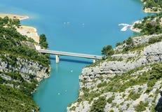 Gorges du Verdon and Lac de Sainte-Croix. Gorges du Verdon (Alpes-de-Haute-Provence, Provence-Alpes-Cote d'Azur, France), famous canyon, and the Sainte-Croix Royalty Free Stock Images