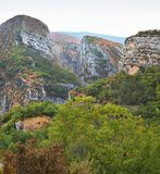 Gorges Du Verdon valley and rock formations in France stock image